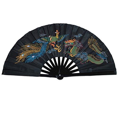 Abanico plegable de bambú, para práctica de artes marciales, estilo chino, Dragon...
