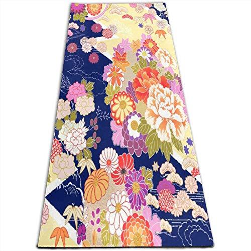 LOSUMIGE Esterilla Yoga Naranja Japonés Tradicional Kimono Motivos Patrón Flor Oriental Colchonetas de ejercicio Pilates para entrenamiento en casa Gimnasio Fitness Meditación Alfombra