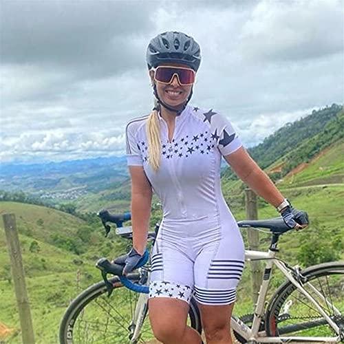 Vestito da ciclismo da donna Triathlon Vestito a maniche corte a maniche corte con calzamaglia da bagno in calotte da bagno (Color : Silver, Size : X-Large)