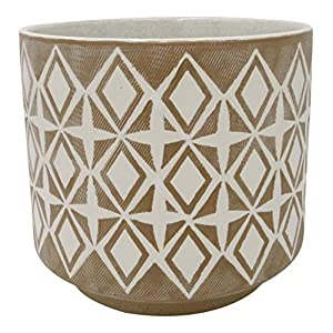 "Silk Flower Arrangements Amazon Brand – Rivet Geometric Ceramic Planter Pot, 8.6""H, Prairie Sand"