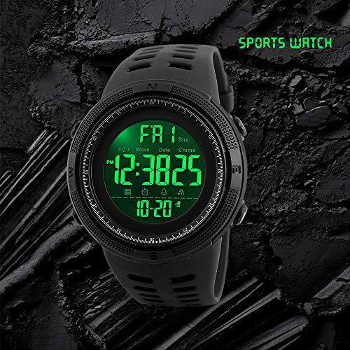 Reloj digital deportivo para hombre, diseño militar, resistente al agua, con cronómetro, alarma, fecha automática y cuenta atrás