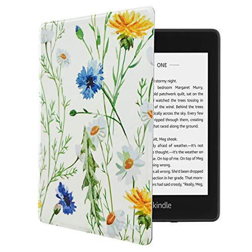 MOSISO Case Compatible with 2018 All-New Kindle Paperwhite 10th Generation, Pattern PU Leather Folio Slim-Fit Smart Tablet E-Reader Shell Protective Cover with Auto-Wake Sleep Function, Daisy