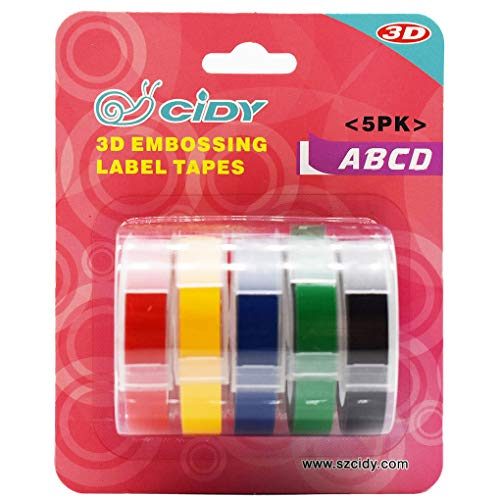 Shangjunol Replacement For DYMO MOTEX 3D Label Maker Manual Embossing Refill Tape Set Printer Ribbon 9mmx3m