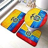 Juego de 3 alfombrillas de baño con diseño de bandera colombiana en forma de U, alfombrilla de pedestal y tapa de inodoro