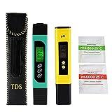 Medidor de TDS + EC + Temperatura y Medidor Digital del PH, Monitor de la Calidad del Agua precisión Portable de Pluma para el Agua Potable, Hidroponía