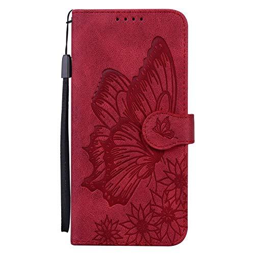 Miagon Hülle für Huawei Y6 2019,Schutzhülle PU Flip Leder Brieftasche Handytasche mit Retro Schmetterling Entwurf Kartenfächer Klapp Handyhülle,Rot