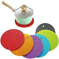 6 pezzi sottopentola in silicone, sottobicchieri resistenti al calore, flessibile antiscivolo in silicone resistente al calore stuoia per cucina, tavolo da pranzo, stoviglie, tazze (6 colori)
