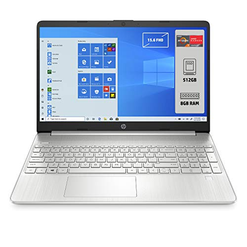 HP - PC 15s-eq1052nl Notebook, AMD Ryzen 7 4700U, RAM 8 GB, SSD 512 GB, Grafica AMD Radeon, Windows 10 Home 64, Schermo 15.6' FHD Antiriflesso, Lettore impronte digitali, Webcam,HDMI, USB-C, Argento