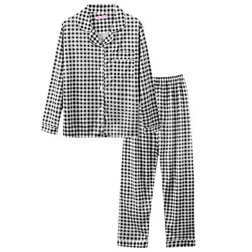 Nueva Ropa De Dormir De Moda para Mujer, Pijamas Bonitos De AlgodóN para NiñAs, Camisetas De Manga Larga Y Pantalones con Bolsillos, Ropa De SalóN Informal con Lunares