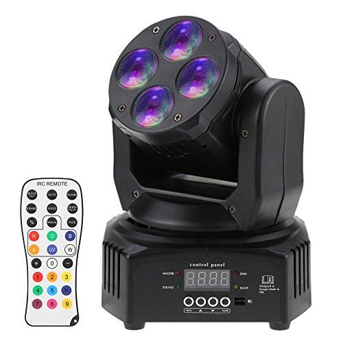 Docooler RGBW 50W Mini Stadiums Licht Lampe, Waschen Rotierenden Beweglichen Kopf B¨¹hneneffekt Licht, 9/15 Kanal DMX 512 Sound Aktiviert mit Fernbedienung