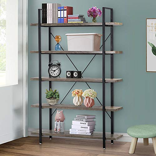 Seeutek Bookshelf 5 Tier Vintage Industrial Bookshelf Display and Storage Bookcase Wood and Metal Book Shelf for Home and Office