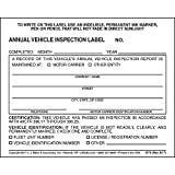 Annual Vehicle Inspection Label 50-pk. -...