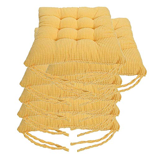 "XNDCYX Outdoor/Indoor Chair Cushion, Wicker Seat Cushion Chair Pads with Ties Softness Seat Cushions for Dining, Patio, Camping, Kitchen, Garden Chairs, Durable, 16"" X 16"",Yellow,6 Pack"
