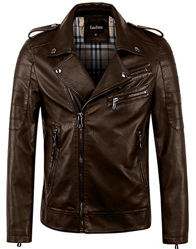 chouyatou Men's Vintage Asymmetric Zip Lightweight Faux Leather Biker Jacket (XX-Large, Coffee)