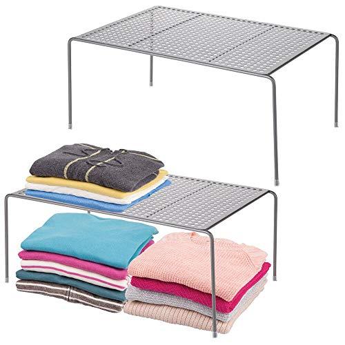 mDesign Modern Metal Closet Cabinet Countertop Organizer Storage Shelf for Bedrooms Bathrooms Entryways and Hallways - Durable Steel Non-Skid Feet - 2 Pack - Graphite Gray