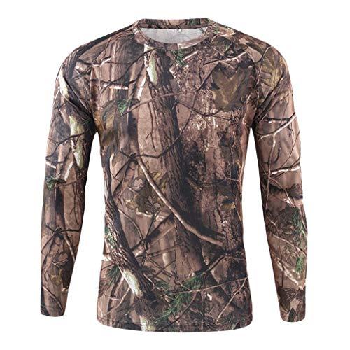 Yowablo T-Shirt T Shirt Homme T-Shirts Homme Outdoor Camouflage à séchage Rapide Tops à Manches Longues Blouse (XXL,2Marron)