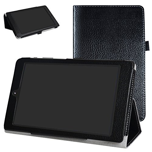 Mama Mouth for DigiLand DL8006 Case,PU Leather Folio 2-Folding Stand Cover for 8.0  DigiLand DL8006 Android Tablet,Black