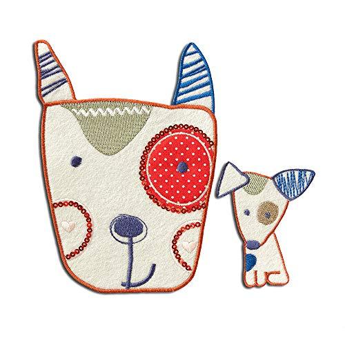 Set Hund - Aufnäher, Bügelbild, Aufbügler, Applikationen, Patches, Flicken, zum aufbügeln, Größe: verschiedene Größen