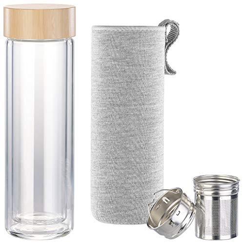 Cucina di Modena Teeflasche: Doppelwandige Glas-Trinkflasche mit Neopren-Hülle & Tee-Sieb, 400 ml (Teeflasche mit Sieb)