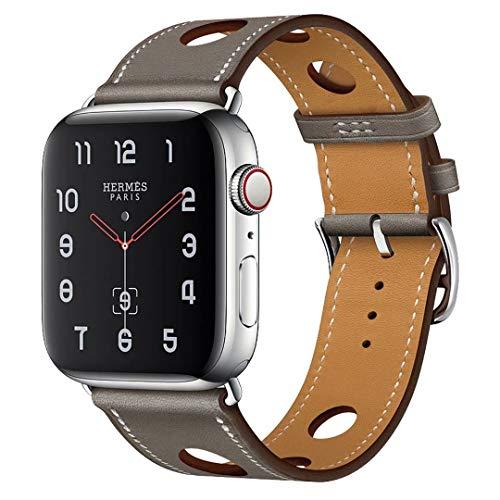 アップルの腕時計のバンド 本革の腕時計バンド アイデア 穴開け設計 通気性 Apple watch series 5/4/3/2/1適用 灰色 38/40mm
