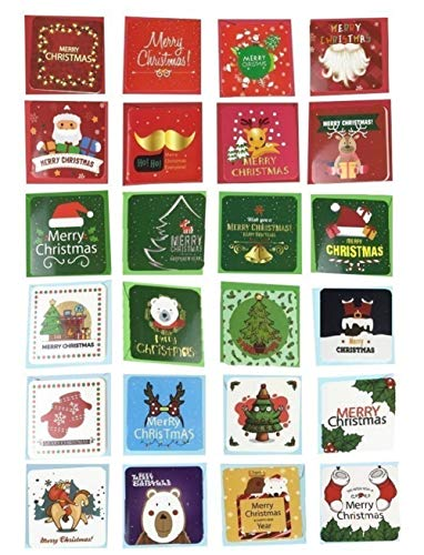 24 Pack Mini Christmas Greeting Cards & Envelopes, 24 Unique Designs Merry Christmas Winter Holiday Greeting Cards, Cute Small Size Xmas Gift Cards 2.7 x 2.7in