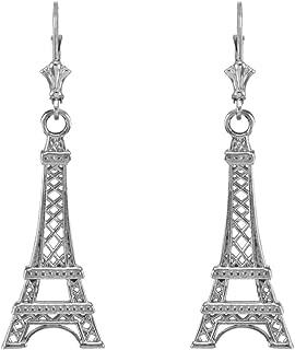 925 Sterling Silver Paris Eiffel Tower Dangle Earrings