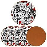 Lot de 6 dessous de verre ronds en cuir pour boissons Motif Paris Tour Eiffel Vélo Ballon pour protéger les meubles Résistant à la chaleur Décoration de bar de cuisine