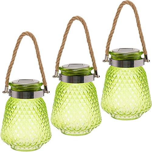 GreenLighting 3 Pack Solar Powered Mason Jar Light - Decorative LED Glass Table Light by (Lime Green)