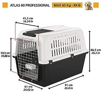 Ferplast - Atlas 60 Professional / 73060021 - Boîte de transport - Gris - 91 x 61 x 66,5 cm