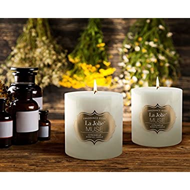 LA JOLIE MUSE Citronella Scented Pack 2 Pillar Candle, 23 oz 70 Hours Burn Each, Outdoor and Indoor, Natural Wax, Large White