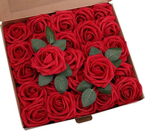 Lintimes Künstliche Rosen Blumen 25 Stück Kunstblumen Rosenköpfe und Blatt für DIY Hochzeit Blumensträuße/Zuhause Dekorationen - Dunkel Rot