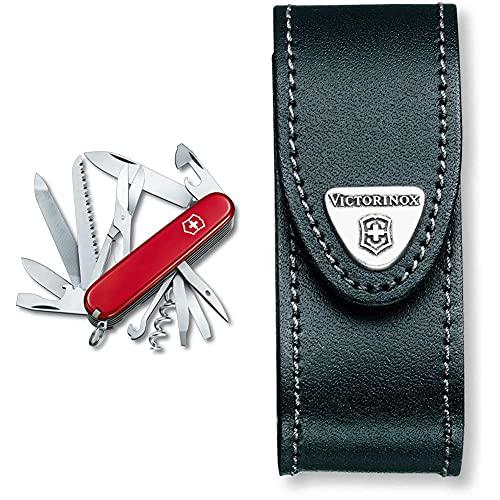 Victorinox Ranger Taschenmesser (21 Funktionen, Metallsäge, Holzmeissel, Schere) rot & Leder schwarz in Blister