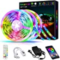 50ft LED Strip Lights,Smareal Led Lights Strip RGB LED Strip Music Sync Color Changing LED Strip Lights APP Bluetooth Controll + Remote,LED Lights for Bedroom,Party and Home Decoration