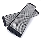 Bling Car Seat Belt Cover Pad, Black PU Leather w/Inlaid Rhinestone Crystals, Seatbelt Shoulder Pad Cushion, Girly Bling Car Accessories for Women, Glam Car Decor (2 pc)