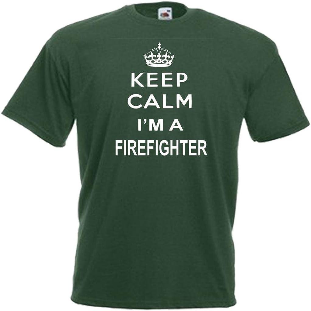 KEEP CALM FIREFIGHTER FIREMAN ADULTS MENS LADIES T SHIRT