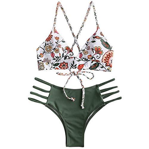 Zaful - Set bikini da donna con reggiseno regolabile push-up, costume da bagno a triangolo con motivo floreale verde S