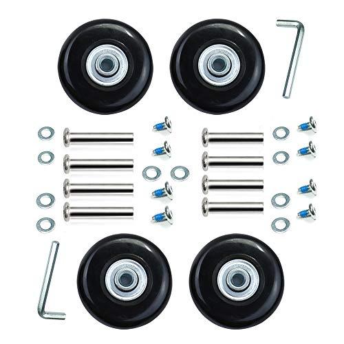 4車輪静音シリーズ用 交換タイヤキット交換用ホイール スーツケース ショッピングカートキャリーボックス車輪交換 静音 取替え 交換 修理 4個セット (車輪50×6×18mm;車軸30,35mm)