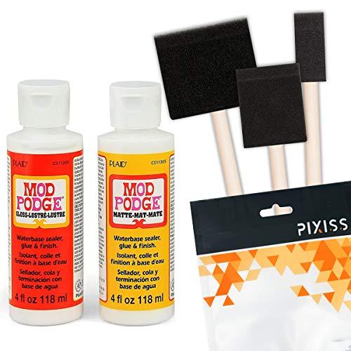 Mod Podge Decoupage Starter Kit, Gloss and Matte Medium with 3 Pixiss Foam...