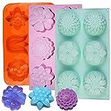 3 x Silikon-Backformen in Blumenform, 6 Mulden, für Zuckerguss, Eiswürfelform, Farbe: Violett,...