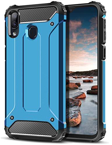Coolden für Samsung Galaxy M20 Hülle,Premium [Armor Serie] Outdoor Stoßfest Schutzhülle Tough Silikon TPU + PC Bumper Cover Doppelschichter Handyhülle für Samsung M20 (Blau)