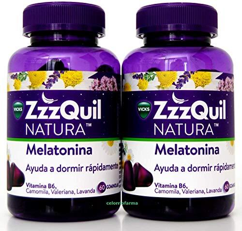 ZzzQuil Natura 60 gominolas con melatonina| Ayuda a Dormir Rápidamente| .- PACK 2 UN (total 120 gominolas)