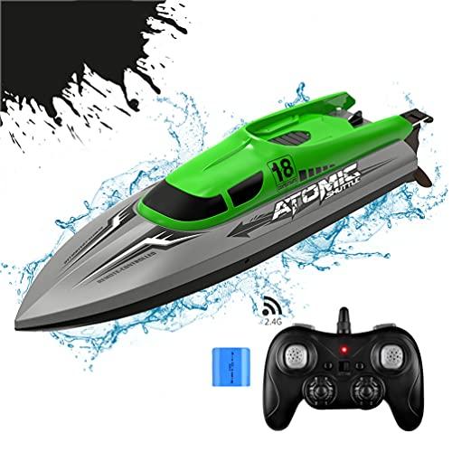 allcaca Ferngesteuertes Boot 2.4GHz Hochgeschwindigkeit 30KM/h 15Minuten Arbeitszeit 180 Grad Auto Flip, Batterie Enthalten, Grün