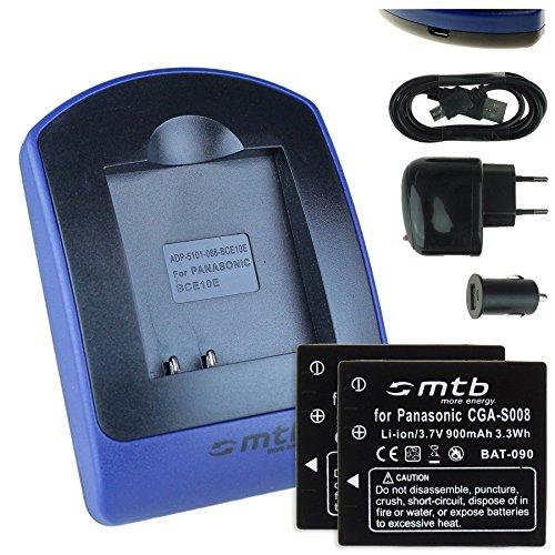 2 Baterìas + Cargador (USB/Coche/Corriente) para Panasonic S008 / Lumix DMC-FS3 FS5...