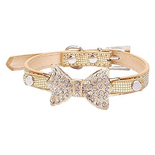 GODHL Urlaub mit Hund Halsband Zubehör mit glitzernden Strass-Schleife für Hunde oder Katzen (Golden, S)