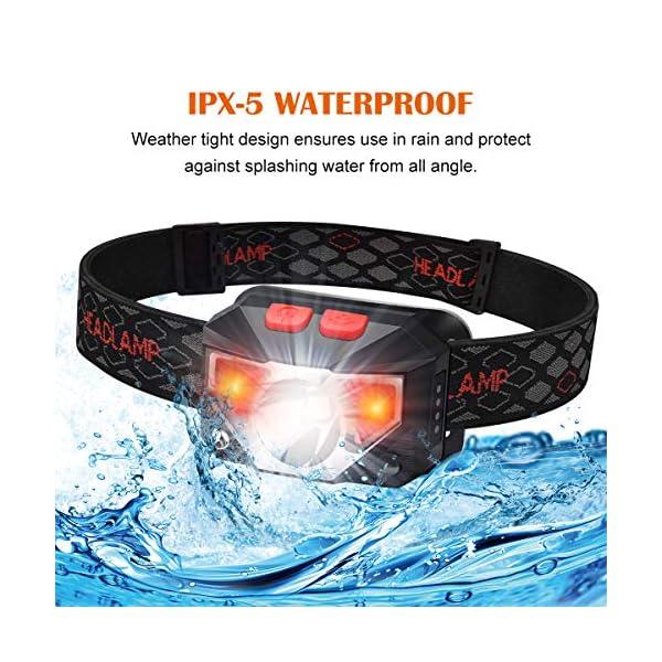 Linterna Frontal, Blusmart Linternas Frontales de Cabeza Led Recargable USB Impermeable, Perfecta para Excursiones en… 2
