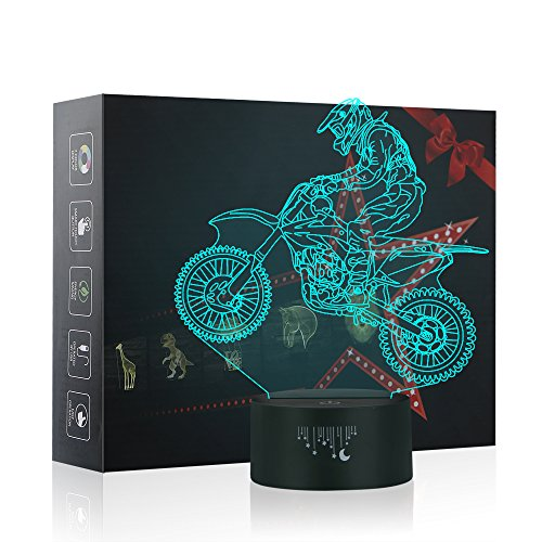 3D Lampe Optische LED Täuschung Nachtlicht,Yunplus 7 Farbwech mit Acryl Flat & ABS Base & USB-Ladegerät ändern Berühren Sie Botton Schreibtisch lampe Tischleuchte (Motorrad)
