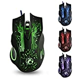New Computer Mice Estone X9 USB 6 Buttons 2400 DPI Wired Multi Color LED Optical Gaming Mouse for Computer PC Laptop(Black)