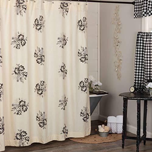 "Lydia Black Floral Shower Curtain, 72"" x 72"", Vintage Farmhouse Boho Style Flower Print Bathroom Curtain, Cream & Black Bath Accent"