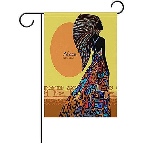 Yard Vlag Mooie Afrikaanse Vrouw In Heldere Jurk Tegen De achtergrond Van Conventionele Landschap Tuin Vlag Yard Perfect Indoor Tuin Decoratie Dubbele Zijde Yard Decoratieve 32X48Cm