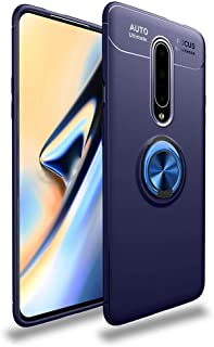 LAGUI Compatible for OnePlus 7 Pro Case, Magnetic Car Mount Dedicated Cover With finger Ring Holder. blue+blue